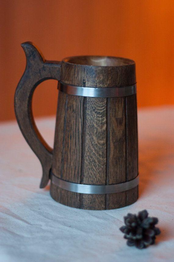 Wooden Beer Mug 0.7 l (23oz), natural wood, handmade, groomsmen gift, Father's day, beer tankard, Dad, grooms gift , husband gift
