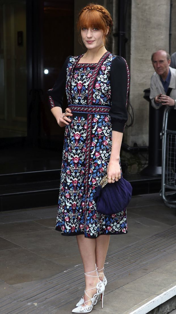 florence welch style | Florence Welch wears a folk-inspired Vilshenko Fall 2014 embroidered ...