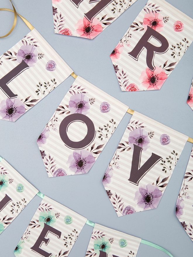 Create this free floral alphabet banner for