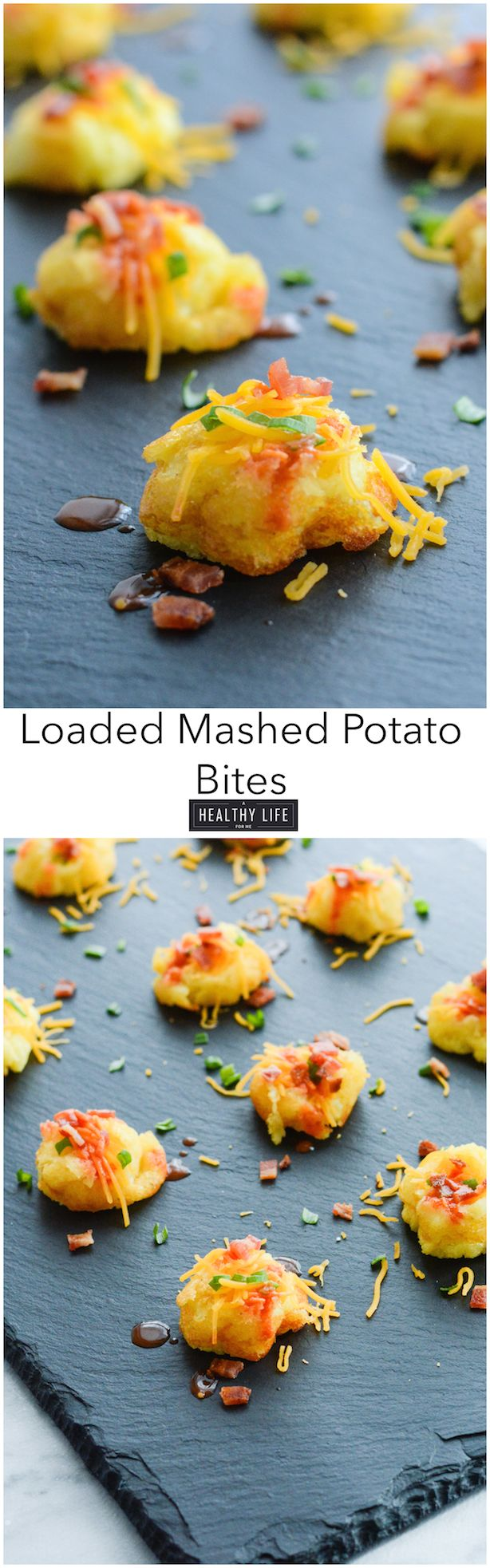 Loaded Mashed Potato Bites are savory mouth size morsels made with your leftover mashed potatoes, a bit of cheese, cream, chives, hot sauce and bacon. - A Healthy Life For Me
