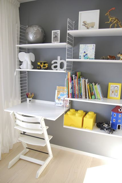 I want an art desk similar to this, but long enough for two kids, with art supply shelves over it. This can go on that awkward wall across from the laundry. It would also be near the bathroom, so perfect.