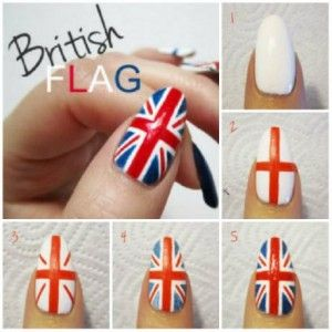 Uñas con bandera, encuentra más tutoriales de uñas aquí...http://www.1001consejos.com/tutoriales-de-unas/
