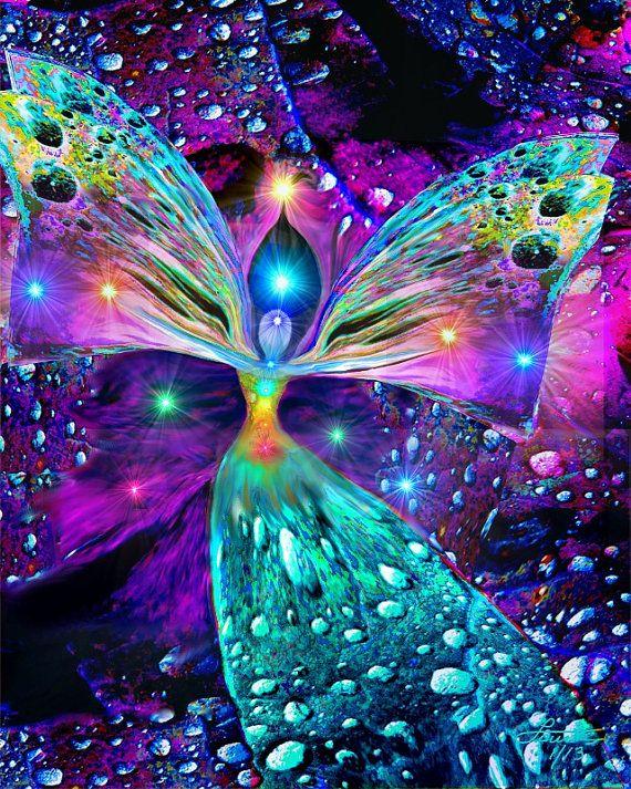 Chakra Art Rainbow Angel Print Reiki Energy Attuned
