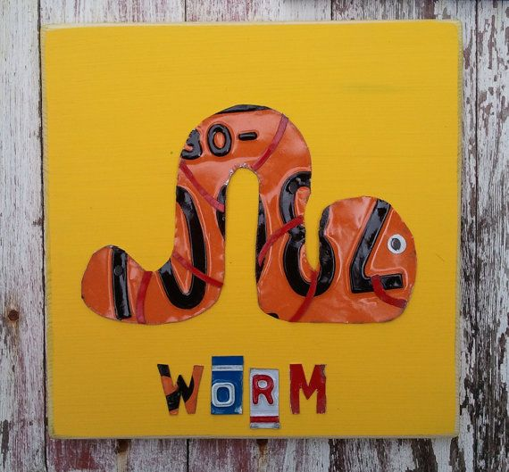 License Plate Artwork Worm Dirty Little Boy Room by ...