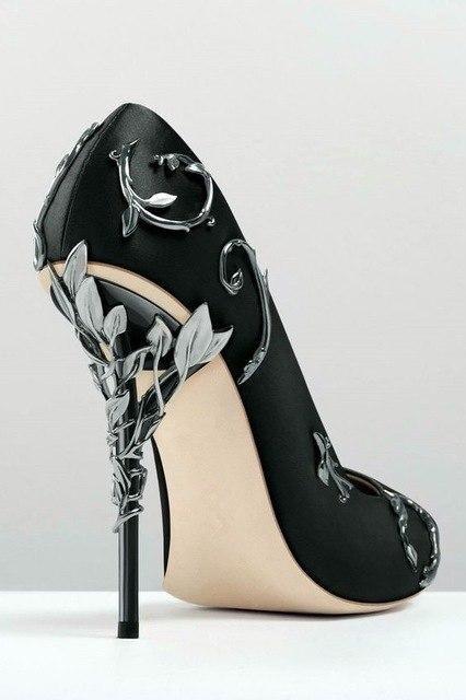 438e6f2f05 Ornate Filigree Leaf White Women Wedding Shoes Chic Satin Stiletto Heels Low -cut Vamp Pointed Toe Eden Heel Bridal Shoes Women