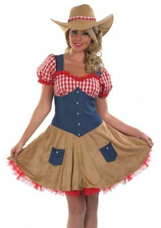 Ladies Sexy Cowgirl Cowboy Wild West Fancy Dress Costume Outfit inc Plus Size (UK 24-26)