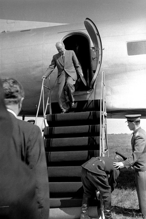 Erich Lessing - Tulln,Vienna Airport. Shortly before the signing of the Austrian state treaty of May 15,1955, Soviet foreign minister MOLOTOV arrives at airport for final talks with the Austrian government