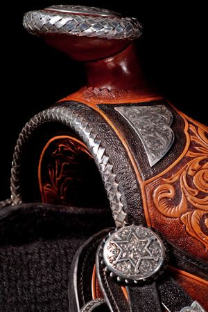 "ADDITIONAL VIEWS ...  The Ultimate Show Saddle All hand engraved solid sterling silver with intricate scroll carving. An inlaid buffalo 16.5"" pleasure seat and a wide tree. Ready to show with matching wear leathers $23,000"