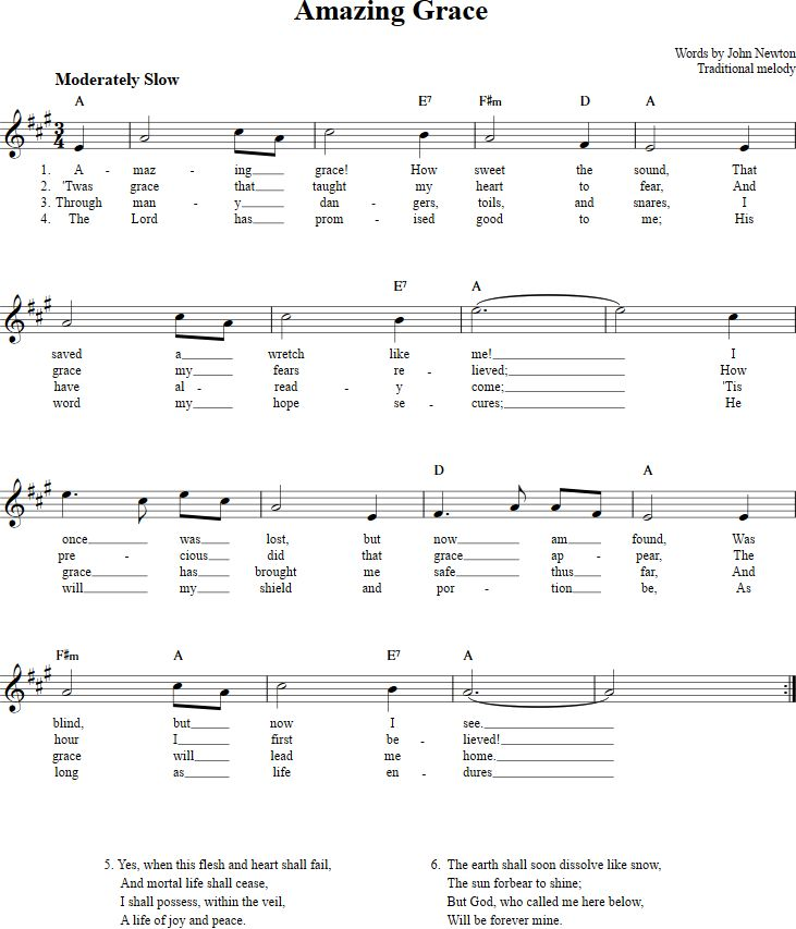 Amazing Grace Sheet Music for Clarinet, Trumpet, etc.