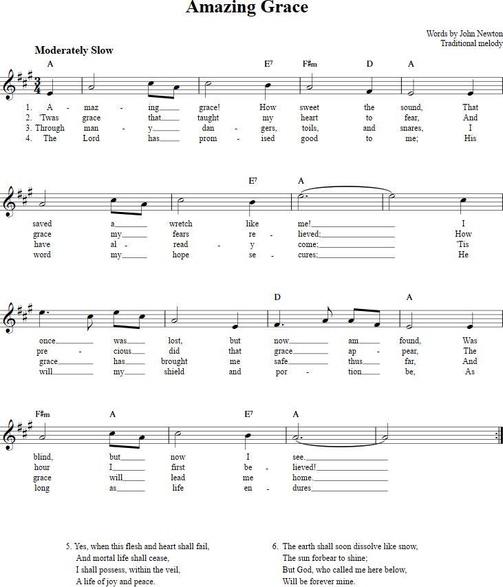 Amazing Grace Sheet Music for Clarinet, Trumpet, etc.