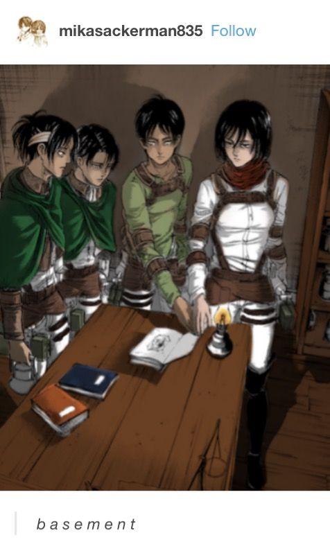 Hanji, Levi, Eren, Mikasa, Attack on titan, AOT, SNK