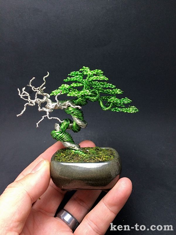 Green wire bonsai tree with deadwood by Ken To by KenToArt.deviantart.com on @DeviantArt
