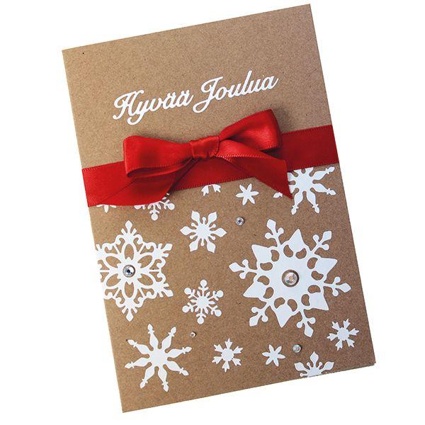 Punainen, juhlava rusetti kruunaa tämän yksinkertaisen kortin!