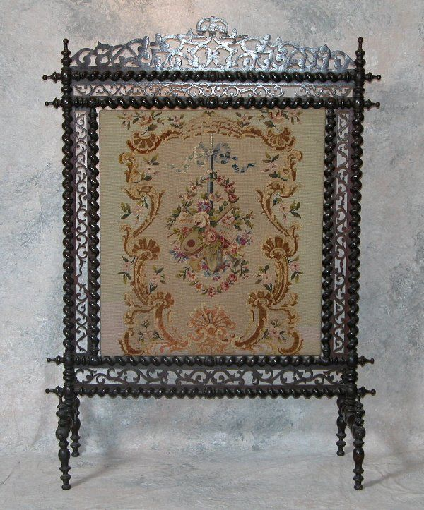 Victorian Fireplace Screen Victorian Fireplace Screen Having Mahogany Frame Featuring Barley