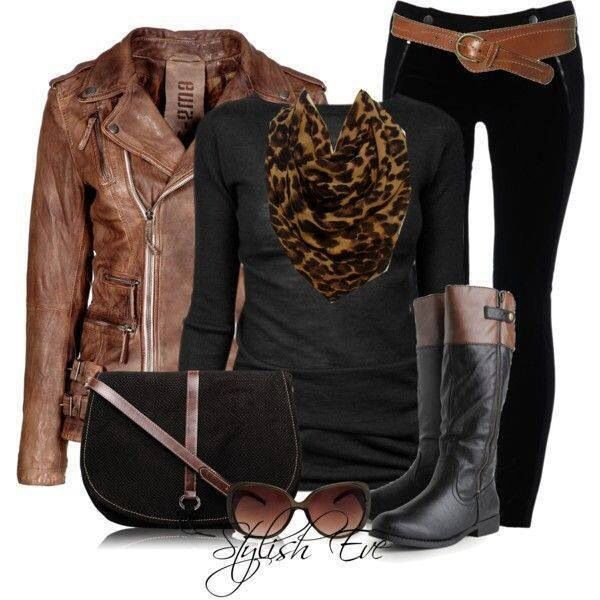Leopard scarf and brown leather jacket