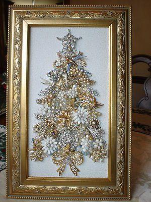 Large Vintage Rhinestone Jewelry Framed Christmas Tree Birds Angels   eBay