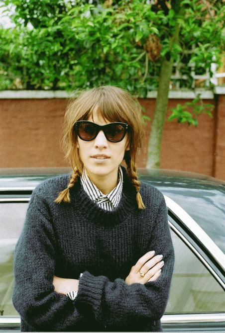alexa chung, sunglasses, shirt, jumper, long bob, hair, plaits, style, fashion