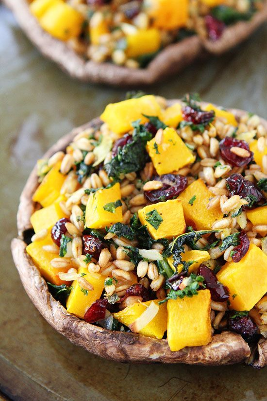 Stuffed Portobello Mushrooms with Farro, Butternut Squash, and Kale Recipe