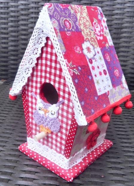 Birdhouse decoupage, fabric (glue I used) woodglue
