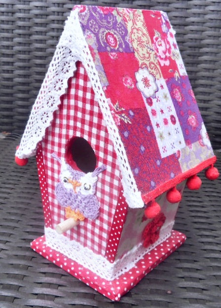 Birdhouse decoupage, fabric (glue I used) woodglue
