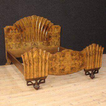 ~ Antique Italian Bed in Burl Walnut in Art Deco Style ~ antiques.co.uk
