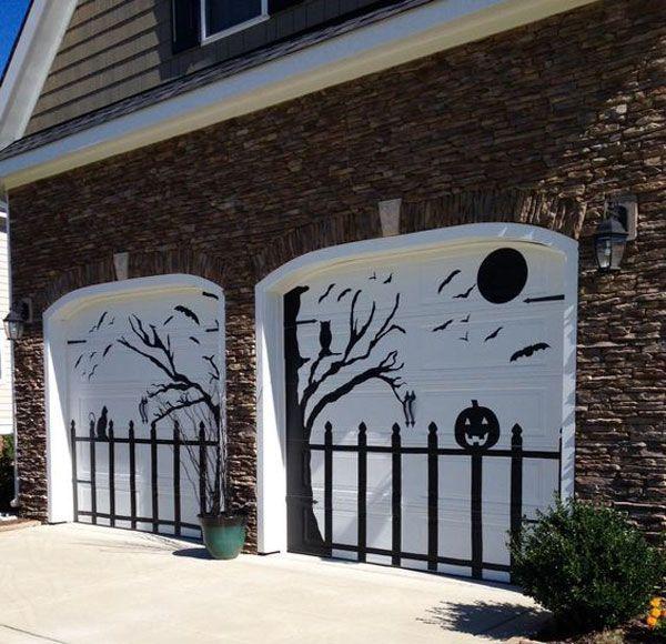 Awesome Garage Door Decorating Ideas for Halloween Pumpkin jack - halloween garage ideas