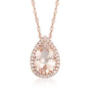 "Ross-Simons - 1.10 Carat Morganite Pendant Necklace in 14kt Rose Gold. 18"" - #876662"