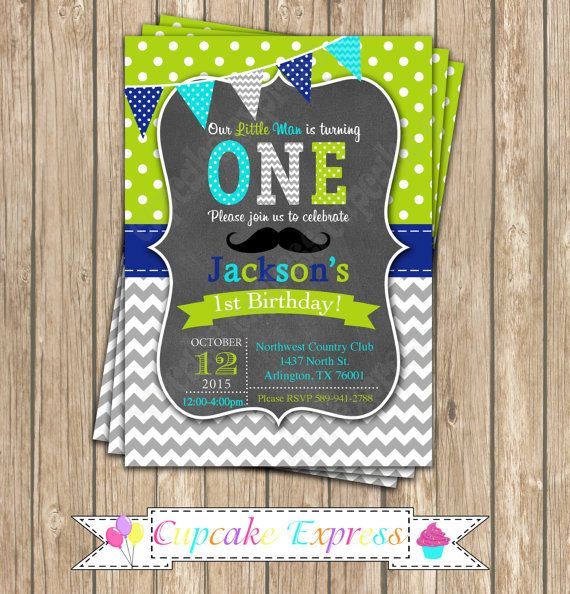 First Birthday Party Invitation Boy Chalkboard: 54 Best Images About Printable Birthday Invitations