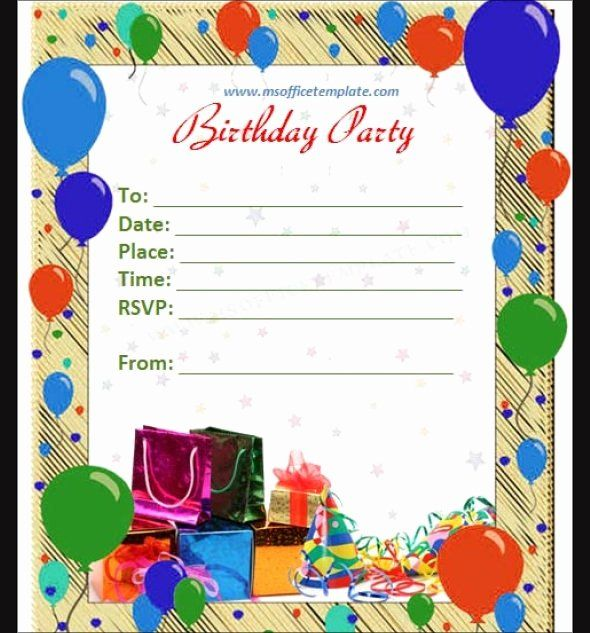 Birthday Invitation Templates Word Unique Free 63 Printable Birthday Invit Happy Birthday Invitation Card Party Invite Template Free Party Invitation Templates
