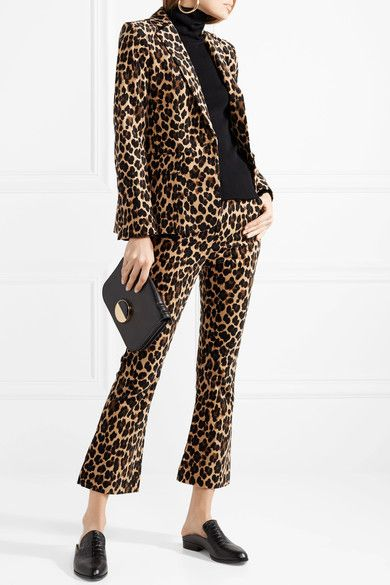FRAME | Cropped leopard-print cotton-blend velvet flared pants | NET-A-PORTER.COM