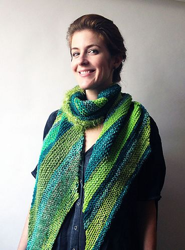 Candystripe Bias-knit in garter stich, this scarf drapes elegantly. Read project notes on sister scarf