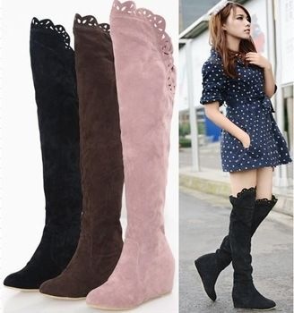 women's new fashion Knee Boots Over Knee Inner Wedge Boots Sexy Snow Boots big size 35-43 autumn w