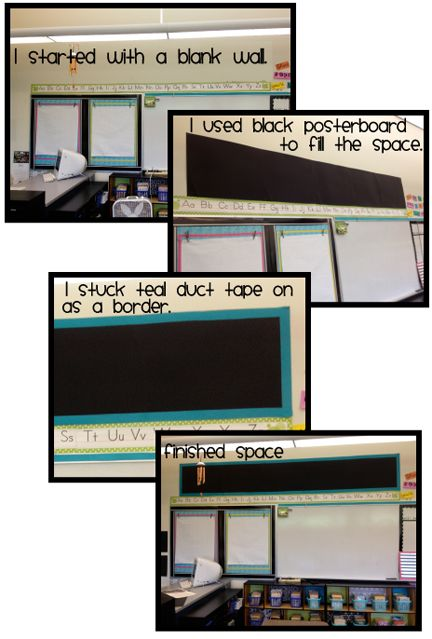 creating display areas in the classroom with posterboard and duct tape