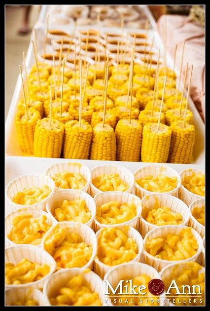 Individual servings of mac 'n cheese (I am thinking Beechers if you are lucky enough to live nearby) and corn on the cob on lollipop sticks. Tie a pretty bow on the stick or wrap them with printed washi tape to add color and class.