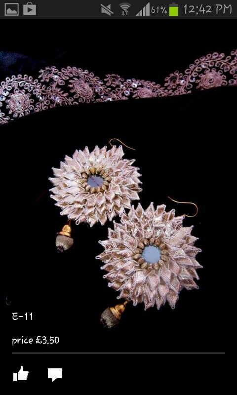 Handmade earing by gota lace