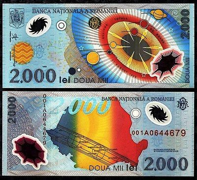 ROMANIA 2,000 LEI FOREIGN PAPER MONEY POLYMER BANKNOTE WORLD CURRENCY