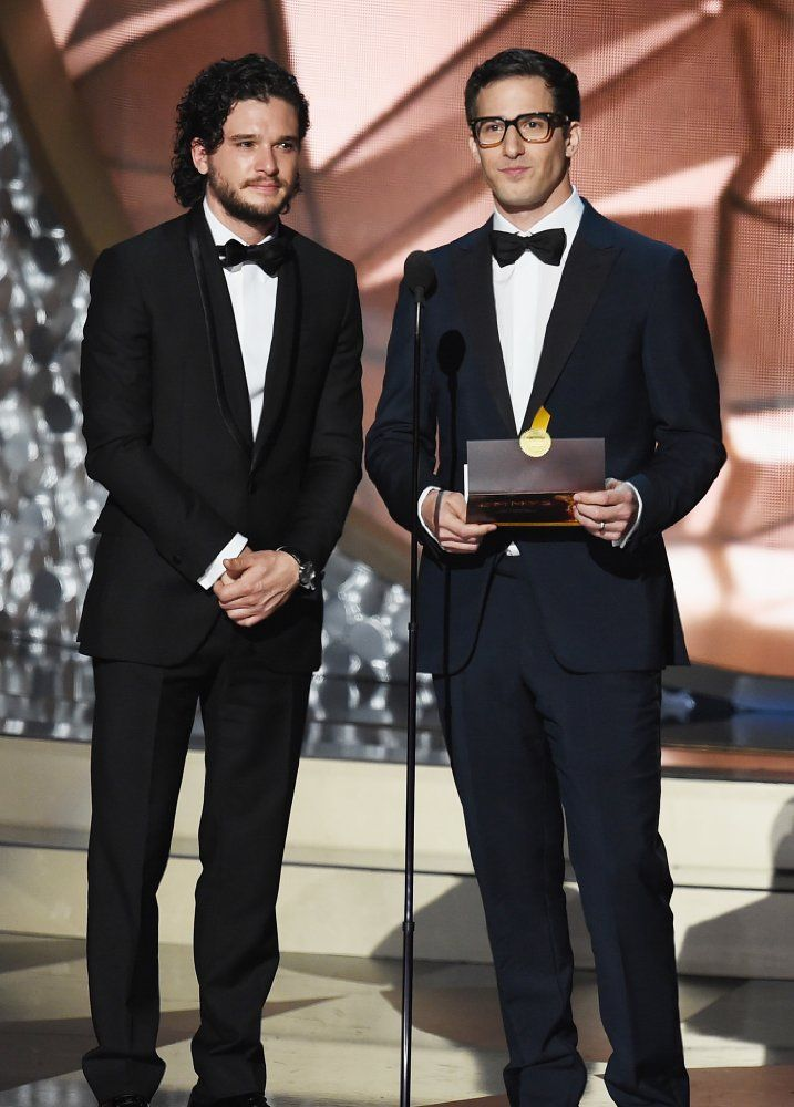 Andy Samberg and Kit Harington at an event for The 68th Primetime Emmy Awards (2016)
