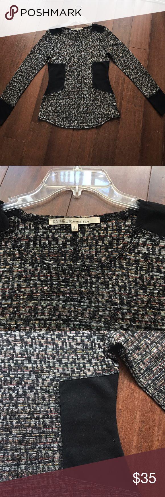 Rachel Roy fitted multi-colored top Rachel Roy fitted multi-colored top. Has a patch of black on both sides which is slimming. RACHEL Rachel Roy Tops