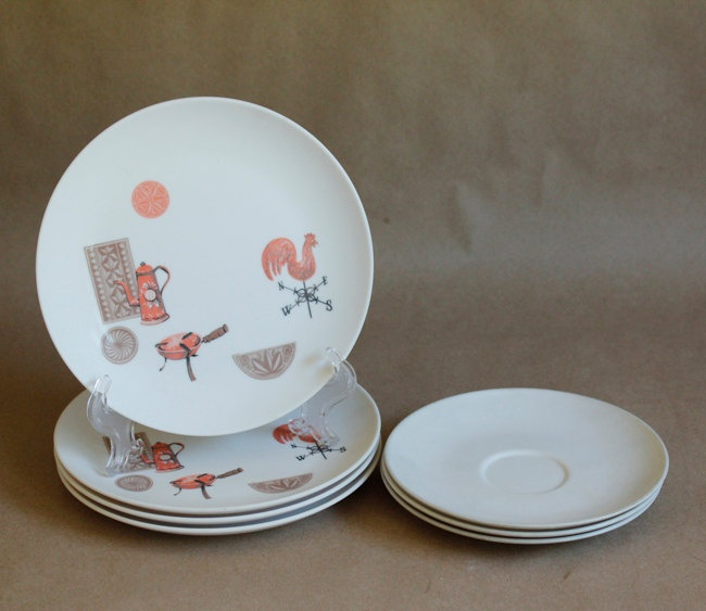 50s 60s Vintage Melmac OD Oneida Melon Taupe Roosters Salad Plates Saucers & 87 best Melmac images on Pinterest | Dishes Vintage dishes and ...
