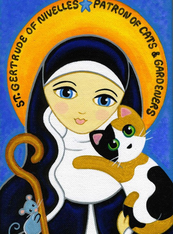 Saint GERTRUDE of Nivelles & CAT Art PRINT from by thatsmycat, $10.00