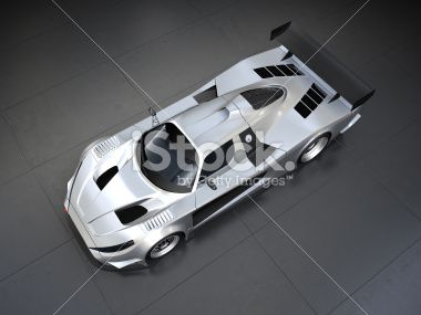 Silver sport car on black background Royalty Free Stock Photo