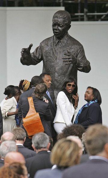Naomi Campbell- & Rev. Jesse Jackson in 2007 as Mandela's Statue Unveiled