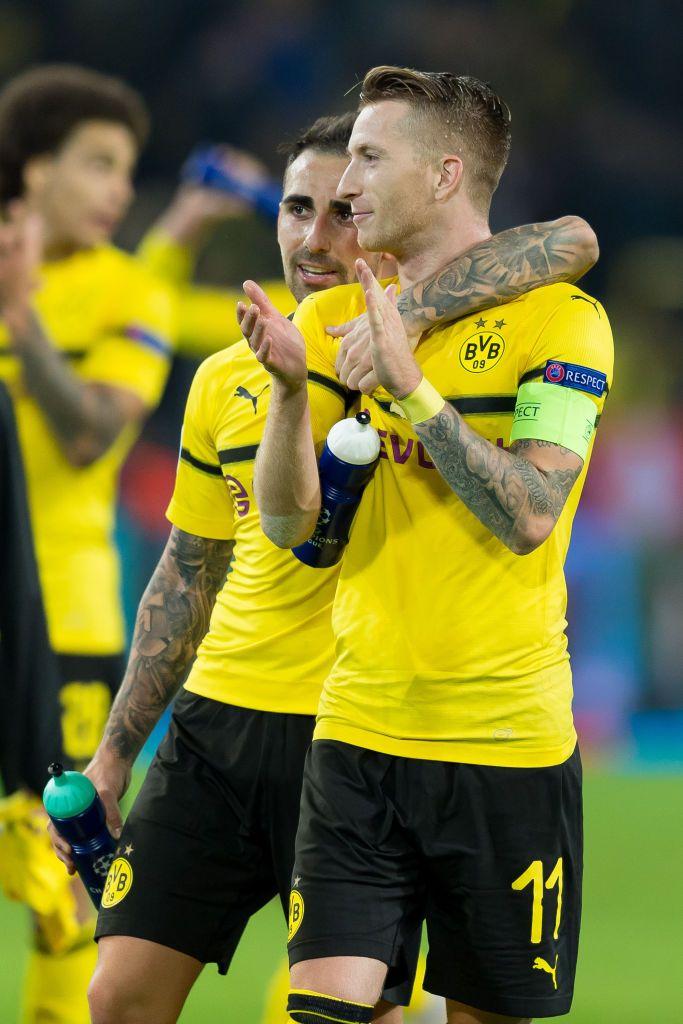 Dortmund Germany October 03 Paco Alcacer Of Borussia Dortmund And Marco Reus Of Borussia Dortmund Looks On During T Borussia Dortmund Dortmund Paco Alcacer
