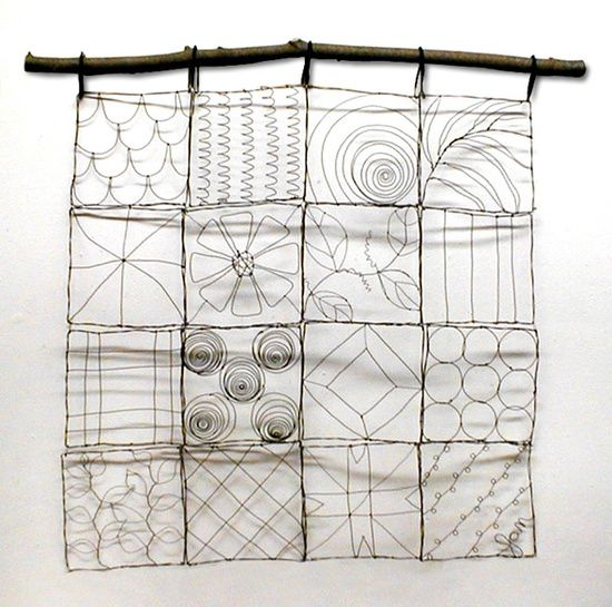 DIY: quilten met ijzerdraad en ophangen aan een tak.