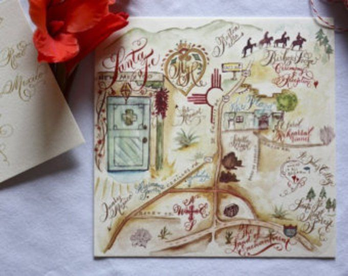 Save the Date Map, Custom painted, Watercolor, Square or Rectangle Cards for Parties, Weddings, Engagements