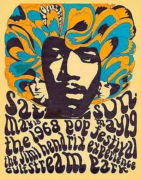 """The first Miami Pop Festival in 1968 was promoted by Richard O'Barry & Michael Lang, later famous as promoter of Woodstock. Bands included Steppenwolf, The Jimi Hendrix Experience, The Mothers of Invention, Blue Cheer, The Crazy World of Arthur Brown, The Package, Chuck Berry, The Blues Image, Pacific Gas and Electric and Three Dog Night. Jimi's appearance is seen by fans as one of his best. The artist for this """"Poster From The Past"""" is Zed Bennett. ~ Professor Poster"""
