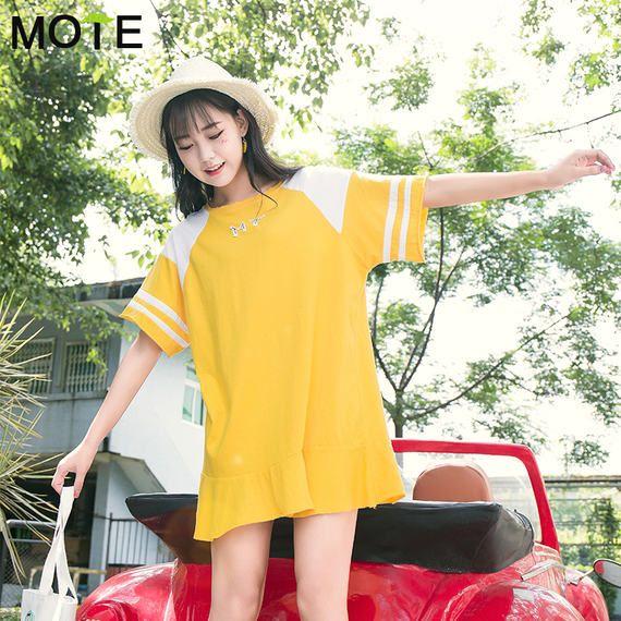 MOTE 연꽃 잎 드레스 여름 2017 새로운 새로운 느슨한 짧은 치마 학생 학생 반팔 T 셔츠 스커트 여성