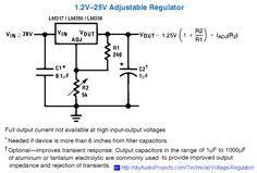 1.2 to 25V Adjustable Voltage Regulator Schematic for LM317 / LM338 / LM350