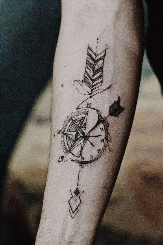 Tatuaggi uomo avambraccio , Tattoo avambraccio bussola orologio