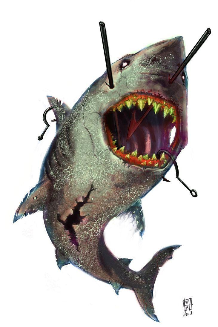 38 best Tiger Shark Tattoo Drawing images on Pinterest ... Zombie Shark Tattoo